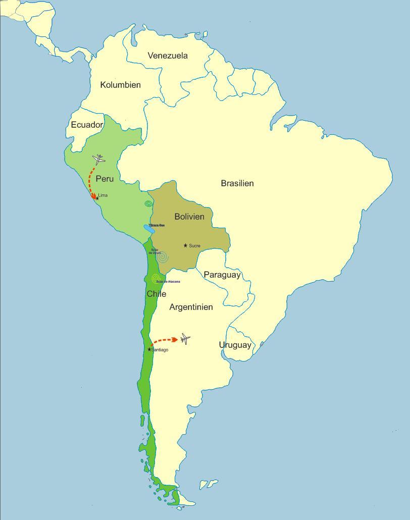 Atacama Wüste Karte.Suedamerika Reise